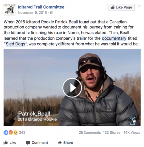 Iditarod Trail Committee's comment on PETA endorsed 'Sled Dogs'