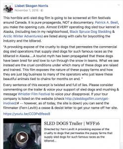Lisbet Norris reacting to Sled Dogs endorsed by PETA